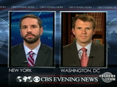 Debating Nate Fick of Generation Kill fame on the CBS Evening News with Katie Couric in December 2009.